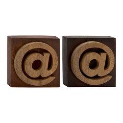 Unique Wood Block Symbol, Set of 2 - Description: