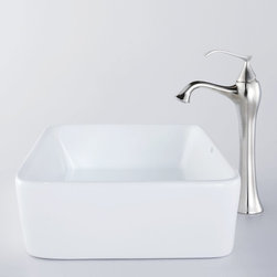 Kraus - Kraus C-KCV-121-15000BN White Rectangular Ceramic Sink and Ventus Faucet - Add a touch of elegance to your bathroom with a ceramic sink combo from Kraus