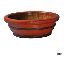 Antique Revival - Sang Don Style Medium Vegetable Sink - Use this round vegetable sink to add flair to your decor. The large,deep container is modeled after baskets used to wash and carry clothes,and it'll quickly give a classic look to any indoor space. The reddish shade of the wood gives visual appeal.