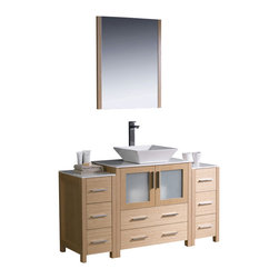 """Fresca - 54 Inch Modern Single Sink Vanity in Espresso, Light Oak, White Ceramic Vessel - Fresca is pleased to usher in a new age of customization with the introduction of its Torino line.  The frosted glass panels of the doors balance out the sleek and modern lines of Torino, making it fit perfectly in either Town or Country decor.  Available in the rich finishes of Espresso, Glossy White and Light Oak, all of the vanities in the Torino line come with either a ceramic vessel bowl or the option of a sleek modern ceramic undermount sink. Dimensions: 54""""W X 18.13""""D X 35.63""""H (Tolerance: +/- 1/2""""); Counter Top: White Ceramic ; Finish: Light Oak; Features: 2 Doors, 8 Drawers; Hardware: Chrome; Sink(s): 16"""" X 16"""" X 5"""" White Ceramic Vessel Sink; Faucet: Pre-Drilled for Standard Single Hole Faucet (Included); Assembly: Light Assembly Required - Item Ships in 3 Pieces; Large cut out in back for plumbing; Included: Cabinet, Sink, Choice of Faucet with Drain and Installation Hardware, Mirror (25.5""""W X 1.25""""D X 31.5""""H); Not Included: Backsplash"""