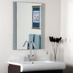 Decor Wonderland - Dune Frameless Wall Mirror - 23.6W x 31.5H in. - SSM5039-1 - Shop for Bathroom Mirrors from Hayneedle.com! Sporting a unique design and a sleek contemporary look the Dune Frameless Wall Mirror is sure to make a statement in any room you hang it in. The eye-catching metal-encased-in-glass border adds to its chic look while the beveled inside edges add to its depth and definition. Since this mirror has no frame you'll find that it will go perfectly with any color scheme in any room. Made of one solid piece of etched glass this mirror features a strong .19-inch-thick glass and double coated silver backing with seamed edges for lasting use. The ready-to-hang mirror comes complete with mounting hardware. Wipe clean with a damp cloth. Use only water or window cleaner when cleaning this mirror.About Decor Wonderland of USDecor Wonderland US sells a variety of living room and bedroom furniture mirrors lamps home office necessities and decorative accessories. Decor Wonderland strives to add variety to their selection so that every home is beautifully and perfectly decorated to suit their customer's unique tastes.