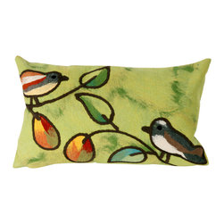 """Trans-Ocean Inc - Song Birds Green 12"""" x 20"""" Indoor Outdoor Pillow - The highly detailed painterly effect is achieved by Liora Mannes patented Lamontage process which combines hand crafted art with cutting edge technology. These pillows are made with 100% polyester microfiber for an extra soft hand, and a 100% Polyester Insert. Liora Manne's pillows are suitable for Indoors or Outdoors, are antimicrobial, have a removable cover with a zipper closure for easy-care, and are handwashable.; Material: 100% Polyester; Primary Color: Green;  Secondary Colors: blue, orange; Pattern: Song Birds; Dimensions: 20 inches length x 12 inches width; Construction: Hand Made; Care Instructions: Hand wash with mild detergent. Air dry flat. Do not use a hard bristle brush."""