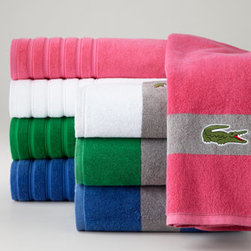 Lacoste - Lacoste Solid-Color Hand Towel, Monogrammed - Now you can add these Signature Stripe bath towels to your Lacoste towel collection. Choose from four bold hues, each with a contrasting gray band with crocodile emblem at the ends. The solid-color towels are offered in an array of colors and with optio...