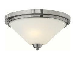 Hinkley Lighting - Hinkley Lighting 3661BN Dillon Transitional Flush Mount Ceiling Light - Dillons contemporary  stem hung design features a floating cast double ring intersection as the centerpiece. The absence of a center tube contributes an airy grace to its robust tube construction.
