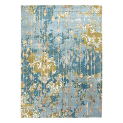 Jaipur Rugs - Hand-Knotted Abstract Pattern Wool/ Bamboo Silk Blue/Green Area Rug ( 2.6x8 ) - The hand knotted  Global collection by Jenny Jones takes inspiration from faded textures in stunning color combinations. Each rug has its own story and is beautifully executed in hand carded wool with bamboo silk.