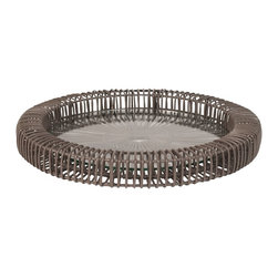 Lazy Susan - Lazy Susan LZS-466031 Gray Wicker Spoke Tray - Small - Modern yet rustic, this old-west inspired tray is guaranteed to start some conversations. It's made from natural rattan and comes in two sizes and colors. Display on a table with an assortment of your favorite tchotchkes.