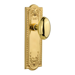 Nostalgic - Nostalgic Privacy-Meadows Plate-Homestead Knob-Polished Brass (NW-704320) - Meadows Plate with Homestead Knob Without Keyhole - Privacy