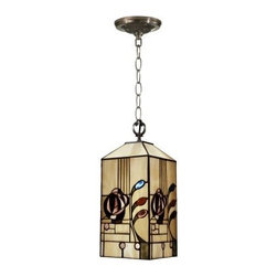 Dale Tiffany Rose Boudoir Mack Mini Pendant - 7-watt in. Antique Brass Plating - The gorgeous, hand-rolled art glass shade of the Dale Tiffany Rose Boudoir Mack Mini Pendant - 7-watt in. Antique Brass Plating is sure to earn you the compliments of your guests. Built on a durable metal base finished in antique brass plating, this chain-hung ceiling light delivers a rich, warm glow from one 60-watt bulb (not included).About Dale TiffanyFounded in 1979, Dale Tiffany, Inc. started manufacturing Tiffany-styled lamps and shades, emphasizing high-quality reproductions of Louis Comfort Tiffany's famous designs. Today, using only the highest quality genuine hand-rolled art glass, Dale Tiffany offers an extensive range of designs to create the world's foremost collection of fine art glass lighting and home accents. With this hand-crafted process, no two pieces are exactly alike, making each design a treasured keepsake. Dale Tiffany captures the timelessness of America's classic designers while developing unique designs that blend perfectly with today's home fashion trends and lifestyles.