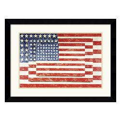 Amanti Art - 'Three Flags' Framed Print by Jasper Johns - One night I dreamed that I painted a large American flag, ' Jasper Johns said, 'and the next morning I got up and I went out and bought the materials to begin it.