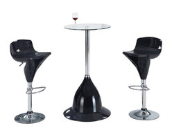 Global Furniture USA - MB230H-BR + MA118BS-BL Glass & Black Acrylic Three Piece Bar Set - The MB230H-BR + MA118BS bar set will enhance any decor with it's unique modern design. This table features a round glass top attached to a chromed metal support. The base of the table is crafted from acrylic and comes in a black finish. Each stool has a matching black acrylic seat in a unique molded shape. The stools are height adjustable and have built-in footrest for added comfort. The bar set shown includes one table and two stools.