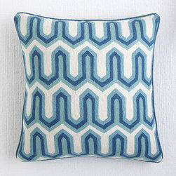 Edgy Crewelwork Pillow Cover - Blue - When we first started naming this pattern, we all compared notes on the things it reminds us of. Some thought it was like the arched windows in old gothic churches, a few were reminded of the rooftops in a sprawling Indian village, and some even thought of the scales of a desert reptile! Ultimately, we just decided to call it edgy, which kind of describes it perfectly. The wool, crewel design is pretty modern, but it's softened in organic greens and cream. Just the thing to give a little pop of color to a bed or sofa.