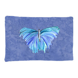 Caroline's Treasures - Butterfly on Slate Blue Fabric Standard Pillowcase Moisture Wicking Material - Standard White on back with artwork on the front of the pillowcase, 20.5 in w x 30 in. Nice jersy knit Moisture wicking material that wicks the moisture away from the head like a sports fabric (similar to Nike or Under Armour), breathable performance fabric makes for a nice sleeping experience and shows quality. Wash cold and dry medium. Fabric even gets softer as you wash it. No ironing required.