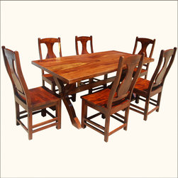 Solid Wood Double-X Pedestal Dining Table and Chair Set For 6 People -