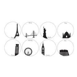 "WallPops - Holiday Weekly Dots Wall Art Decal Kit - Stay organized every week with these dreamy Holiday dry-erase dots. Featuring famous city landmarks in black on a white background, these peel & stick decals make planning your days cultured and exciting. This kit comes with one famous city for each day of the week, plus a bonus city for notes.  Holiday Weekly Dots WallPops come with eight 6"" dots on two 13"" x 13"" sheets and includes a dry-erase marker.  WallPops are always repositionable and removable."