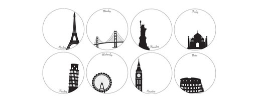 """WallPops - Holiday Weekly Dots Wall Art Decal Kit - Stay organized every week with these dreamy Holiday dry-erase dots. Featuring famous city landmarks in black on a white background, these peel & stick decals make planning your days cultured and exciting. This kit comes with one famous city for each day of the week, plus a bonus city for notes.  Holiday Weekly Dots WallPops come with eight 6"""" dots on two 13"""" x 13"""" sheets and includes a dry-erase marker.  WallPops are always repositionable and removable."""