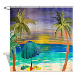 usa - Day At The Beach Shower Curtian - Beautiful shower curtains created from my original art work. Each curtain is made of a thick water resistant polyester fabric. The permanently applied art work appears on the front side with the inside being white. 12 button holes for easy hanging, machine washable and most importantly made in the USA. Shower rod and rings not included. Size is a standard 70''x70''
