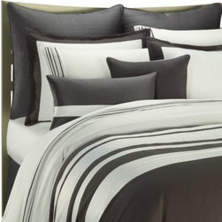 Ampersand - Ampersand Stratosphere Comforter Set in Grey - Add a contemporary look to your bed with this simply stated bedding. Elegant rows of grey and white set the stage for a modern statement with a timeless feel.