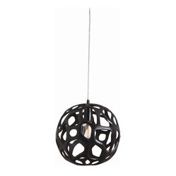 Arteriors - Ennis Medium Pendant - Hit the task lights in dramatic style with this iron orb pendant. You could let all those free-form cutouts remind you of all the chopping and dicing waiting for you in the kitchen or just imagine how impressive this sculpted orb will look as it sheds light on your work area.