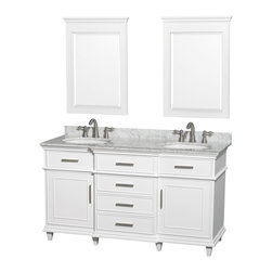 "Wyndham Collection - Wyndham Collection 60"" Berkeley White Double Vanity & Carrera Marble Top - If your bathroom's asking you for a facelift, the Berkeley is a worthy choice. At once elegant, classic and contemporary, the Berkeley vanity lends an air of sophistication and charm to any bathroom, from a Soho penthouse to a rustic country home. Carefully hand built to last for decades and finished in White or Dark Chestnut, this solid wood vanity is trimmed with brushed chrome hardware to compete the timeless look. Available in multiple sizes and finishes."
