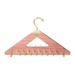 Cedar Tie & Belt Hanger - Store your entire collection of ties and belts in the same amount of space you use to hang a single jacket, and freshen your closet at the same time. This Cedar Tie & Belt Hanger holds 30 ties and eight belts on durable, Brass-plated pegs and hooks.