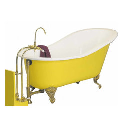 Renovators Supply - Clawfoot Tubs Porcelain Slipper Clawfoot Tub only No Feet - Clawfoot Tubs. Our Slipper Claw Foot Bathtubs are designed with a sloped back perfect for resting. Each slipper tub has EXTRA thick cast ion (5/16 inch) to retain heat longer and features a rich glazed porcelain interior. Every claw foot tub exterior is primed and ready to paint to match your decor (oil-base paint only). The clawfoot tub requires four tub feet,  SOLD SEPARATELY. There are no faucet drill holes, this claw foot tub fits free standing or wall mount faucets, sold separately. Our cast iron slipper bathtub  prices include crating, lift gate service, and shipping to the contiguous U.S.
