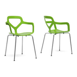 """Wholesale Interiors - Miami Green Plastic Modern Dining Chairs, Set of 2 - The vibrancy of the famous Floridian city lends itself well to our Miami Modern Dining Chair. Bright green molded plastic serves as a comfortable seat and is supported by a chrome-plated steel base. Black plastic non-marking feet protect sensitive flooring and help stabilize this designer dining chair. Perhaps best of all, this Chinese-made piece is a stackable dining chair. To clean, wipe with a damp cloth. Assembly is required. Also available in orange or white (each sold separately). Dimension: 20.75""""W x 21.5""""D x 32""""H, seat: 17.5""""W x 15""""D x 18.25""""H, arm height: 7.75""""."""