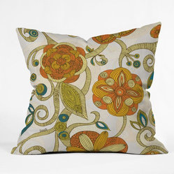 Valentina Ramos Polyester Orange Flowers Indoor/Outdoor Throw Pillow