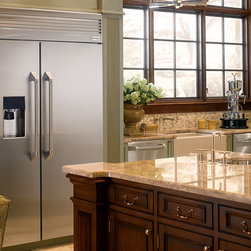 """GE Monogram 48"""" Built-In Professional Side-by-Side Refrigerator with Dispenser - Monogram side-by-side refrigerators feature an ice dispenser that will accommodate any glass size, from tumbler to pitcher."""