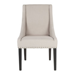Safavieh - Safavieh Britannia Kd Side Chair - The clean lines, exposed nickel nail heads and gracefully sloped arms of the grey linen Britannia, with legs in an espresso finish, dress up any dining setting. Slightly tapered legs, crafted from sturdy birch wood, and the upholstered seat and backrest ensure comfort of Britannia, shown in beige fabric.