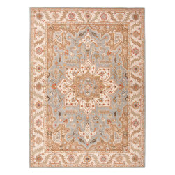 Jaipur Rugs - Traditional Oriental Pattern Blue Wool Tufted Rug - PM50, 9.6x13.6 - The Poeme Collection takes traditional designs and re-invents them in a palette of modern, highly livable colors. Each design is made from premiere hand-spun wool and crafted with precision for the look and feel of a hand-knotted rug, at the more affordable cost of a hand-tufted. Poeme will effortlessly coordinate individual design elements to finish any room.