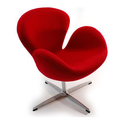 None - Swan Wool Chair - This swan chair has a classic design and is very comfortable to lounge in. This wool upholstered chair comes with a swivel base.Color options: Red,white,and black