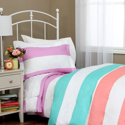 None - Cabana Girls Striped 600 Thread Count 3-piece Duvet Cover Set - Let your teen or little one sleep in comfort with this luxurious 600 thread count duvet cover and sham set. Crafted with a plush cotton-polyester blend,this bedding is accented with cabana stripes in lavender,pink or sky blue.