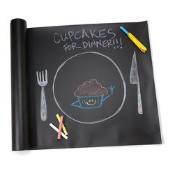 Modern ABS Plastic Chalkboard Table Runner Set - Whether your dinner conversation could use a little tic-tac-toe or the kids' table needs some doodling time, this roll up, chalkboard-inspired table runner offers a blank canvas for creative diners both big and small. Use as a table runner, cut into placemats, or even hang as a banner, then let your vision take shape. This innovative design comes with dustless chalk, so you won't leave any vibrant seasoning on your tablescape