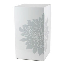"""Blissliving Home - End Table - A Blissliving Home icon, our signature oversize chrysanthemum brings life to our modern side tables. Clean construction in high gloss white, the enclosed cube shape provides a pristine backdrop for our silk screened motif in Glacier Grey, cleverly placed on the corner. Pair two tables together to complete the cropped flower. Features: -Wood composite.-Pair two tables together to complete the cropped flower.-Clean construction in high gloss white.-Distressed: No.-Collection: Hong Kong.-Top Finish: White.-Base Finish: White.-Powder Coated Finish: No.-Gloss Finish: Yes.-Base Material: Wood.-Top Material: Wood.-Inlay Material: Wood.-Number of Items Included: 1.-Nesting Tables: No.-Non-Toxic: No.-UV Resistant: No.-Scratch Resistant: No.-Weather Resistant or Weatherproof: No.-Water Resistant or Waterproof: No.-Stain Resistant: No.-Lift Top: No.-Drop Leaf Top: No.-Magazine Rack: No.-Built In Clock: No.-Drawers Included: No.-Exterior Shelves: No.-Cabinets Included: No.-Glass Component: No.-Legs Included: No.-Casters: No.-Lighted: No.-Stackable: No.-Reclaimed Wood: No.-Adjustable Height: No.-Outdoor Use: No.-Swatch Available: No.-Commercial Use: Yes.-Recycled Content: No.-Eco-Friendly: Yes.-Product Care: Wipe clean with dry/wet cloth.-Built In Outlets: No.-Cable Management: No.-Powered: No.Specifications: -FSC Certified: No.-EPP Compliant: No.-ISTA 3A Certified: No.-ISTA 1A Certified: No.-General Conformity Certificate: No.-Green Guard Certified: No.-ISO 9000 Certified: No.-ISO 14000 Certified: No.-UL Listed: No.Dimensions: -Overall Product Weight: 11.5 lbs.-Overall Height - Top to Bottom: 21"""".-Overall Width - Side to Side: 12"""".-Overall Depth - Front to Back: 12"""".-Table Top Width - Side to Side: 12"""".Assembly: -Assembly Required: No.-Tools Needed: No.-Additional Parts Required : No."""