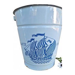 "Enamel pail - I found this from a European dealer, had to have this one too. It would be awesome for a coastal home or a childs room. It is as found in good condition. Measurements: 11""6 x 12. Dark blue graphics on light blue pail, has wooden handle."