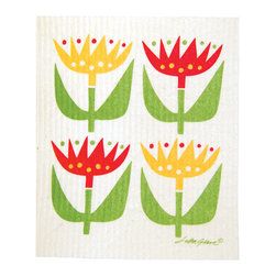 Klippan - Swedish Dishcloth Tulip - THE SWEDISH ECO-FRIENDLY DISHCLOTH: The dry sponge cloth was invented in 1949 by the Swedish engineer Curt Lindquist, who discovered that a mixture of natural cellulose (wood pulp) and cotton can absorb an incredible 15 times its own weight in water.