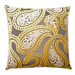 Squarefeathers - Soleil, Paisley Pillow - A beautiful collection that is true to its name. Make your bedroom glow with the Soleil pillow collection! Made of rayon and polyester with a knife edge trim. It has a soft and pump feataher/down insert inclosed with a zipper. Like all of our products, this pillow is handmade, made to order exclusively in our studio right here in the USA.