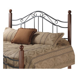 Hillsdale - Hillsdale Madison Metal Headboard in Antique Black Finish-Twin - Hillsdale - Headboards - 1010HTW - wood posts and wrought-iron scrollwork makes the Madison headboard a contemporary classic helping to turn any room into a restful sanctuary. Sturdy and secure the calming design of the Madison features a lustrous cherry wood finish on it's two posts to warm up your decor.
