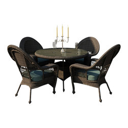 Forever Patio - Catalina 5 Piece Traditional Dining Set, Heather Wicker, Spa Cushions - The 5 Piece Catalina Round Dining Set with Turquoise Sunbrella® Cushions (SKU FP-CAT-5RDN-HT-SP) creates a wonderful setting for brunches, lunches and dinners with family and friends. This set features Heather Round wicker with a full round design that creates a complex and luxurious look. Every strand of this wicker is made from High-Density Polyethylene (HDPE) and is infused with its natural color and UV-inhibitors that prevent cracking, chipping and fading ordinarily caused by sunlight. The set is supported by a thick-gauged, powder-coated aluminum frame that makes it extremely durable and resistant to corrosion. Also included are cushions covered in fade- and mildew-resistant Sunbrella® fabric. With its full size seating and comfortable cushions, this dining set makes outdoor dining a delight.