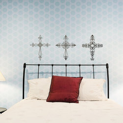 Wrought Iron Cross Vinyl Wall Decals - These Wrought Iron Cross Vinyl Wall Decals from Wallternatives will warm up any home with their intricate lines and rich history. Display them as a set or on their own!