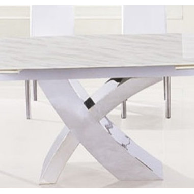 Afragola Marble or Tempered Glass Modern Dining Table