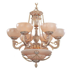 Crystorama - Alabaster Stone Glass Nine Light Chandelier - These Spanish imports showcase natural alabaster stone and cast brass ornate detailing that will fit in any traditional setting. This is truly a unique, one of a kind specialty light fixture.