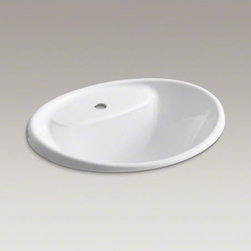 KOHLER - KOHLER Tides(R) drop-in sink with single faucet hole - With an alluring design and lasting construction, Tides presents an expressive, versatile option for the bathroom. The graceful, undulating rim dips slightly lower in the front for convenience, while the basin curves gently downward to contain splash.