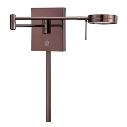 Kovacs - Kovacs P4308-631 LED Swing Arm Wall Sconce - Kovacs P4308-631 LED Swing Arm Wall SconceFeaturing a bold Chocolate Chrome finish and built in 8 watt LED as well as an on/off dimmer, this versatile fixture will make a great addition to a bedroom or office. Beauty and energy efficiency go together in this LED swing arm wall sconce.Kovacs P4308-631 Features: