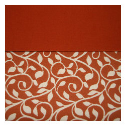 Grey House Linens - The Joanie Collection Tablecloth, Extra Large - Beautifully crafted, this two-tone woven terracotta and ivory vine border adorns a deep orange organic cotton solid. Gorgeous texture and a stylish pop of color will enhance every day dining and special occasion entertaining alike.
