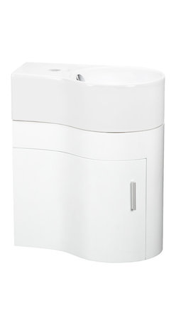 Elite Sinks - Melamine Curved Wall-Hung Vanity and Sink - ELANTI SET EC9849P-R - The curved soft lines of this white melamine vanity cabinet are a beautiful addition to your bathroom. A door hides storage in a small space. This vanity only fits sink EC9849 and is sold as a set. Elite Sinks manufactures our own classic high-quality vanities and sells them directly to you!