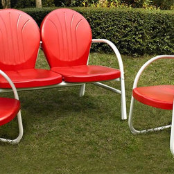 Crosley Furniture - 3-Pc Conversation Seating Set - Includes loveseat and two chairs. Easy to assemble. UV resistant. ISTA 3A certified. Warranty: 90 days. Made from sturdy steel. Red color. Assembly required. Loveseat: 41.13 in. W x 29.5 in. D x 34.5 in. H (29 lbs.). Chair: 28.5 in. W x 21 in. D x 34.5 in. H (15 lbs.). Overall weight: 59 lbs.Relax outside for hours on our nostalgically inspired Griffith outdoor furniture. Kick back while you reminisce in this seating set, designed to withstand the hottest of summer days and other harsh conditions. The furnitures complement your outdoor accessories.