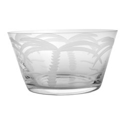 Rolf Glass - Palm Tree Clear Small Bowl 6 Set of 4 - Fill them with cherries or grapes, peanuts or pretzels, these clear glass bowls will make whatever you're serving look absolutely appealing. With graceful, swaying palm trees engraved on every side, you'll swear you're in the tropics.