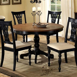 Hillsdale Furniture - Embassy Pedestal Dinette Table Set w Woven La - Contrasting tones of rubbed black and cherry give this wood dining table set a stylish look that will easily add elegance to any home's decor. The set includes a pedestal style table and four chairs with woven laced wood backs and seats upholstered in a creamy butter-colored fabric. For residential use. Includes dining table and 4 chairs. Stool sold separately. Black base and Cherry finish table top. Table: 48 in. Dia. x 30.5 in. H. Chair: 23 in. W x 19.25 in. D x 40 in. HFeaturing the classic combination of our rubbed Black finish with Cherry table top surface, our Embassy dining collection is one of our crown jewels. Rich in traditional design, the woven laced wood back and tall rectangular chair silhouette combined with the graceful pedestal table base creates the impression of timeless elegance.