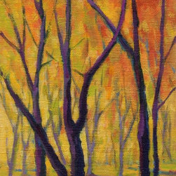 """""""Colors Of Fall No. 3 By Konnie Kim 521204, Painting"""" - This little gem was painted on a canvas panel. Metalic gold paints were used to add the extra sparkle! It would look great either framed or on a small table top easel."""